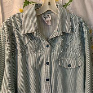 Vintage green white stripe textured dad shirt